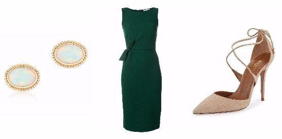 메건 마클이 약혼 발표 때 착용한 패션 아이템들. 버크스의 18K 귀고리부터, 패로슈의 드레스, 아쿠아주라의 누드톤 힐. [사진 각 브랜드 홈페이지 캡처]