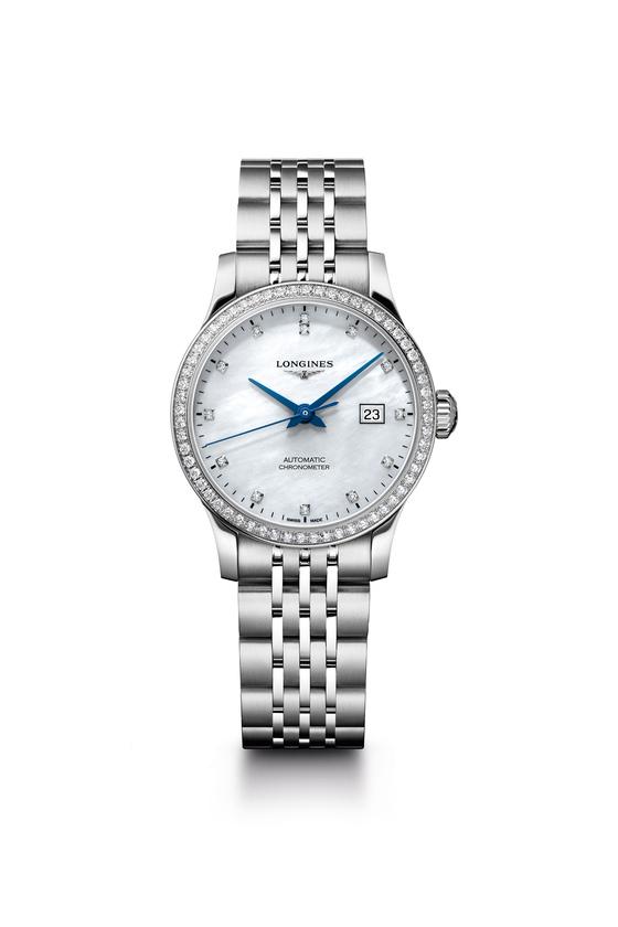 론진 레코드 컬렉션 'L2.321.0.87.6' 제품. 화이트 다이얼 위에 13개의 다이아몬드 인덱스를 갖춘 여성용 시계다. [사진 론진]