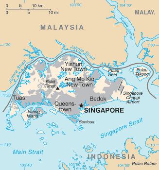 싱가포르 지도. 서울시의 1.2배 크기의 작은 도시 국가다. [CIA 월드 팩트북]