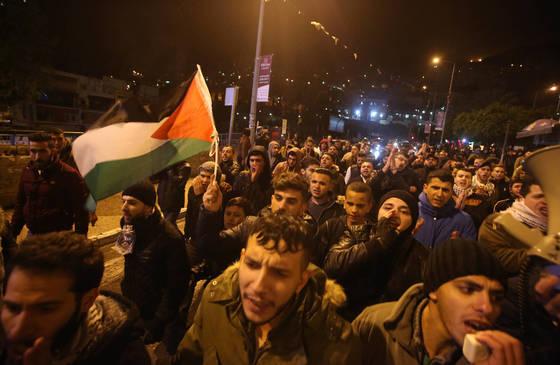 팔레스타인 서안에서 벌어진 반미 집회. [Xinhua=연합뉴스]
