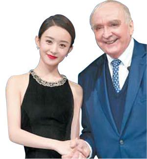론진의 월터 본 캐널 사장(오른쪽)과 새 로운 브랜드 앰버서더로 선정 된 중국의 신예 배우 자오리잉.