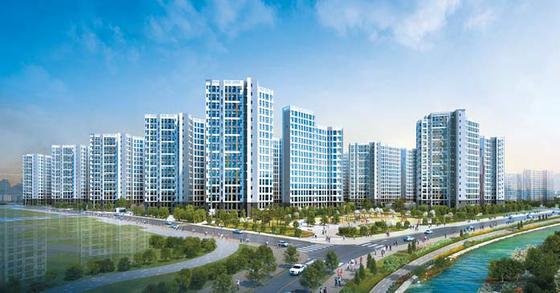 내년 개통 예정인 김포도시철도 고촌역 역세권에서 선보이는 캐슬앤파밀리에 시티 투시도.