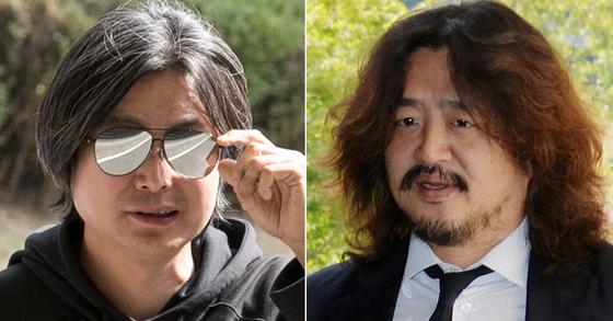 주진우(왼쪽) 시사인 기자와 딴지그룹 대표 김어준씨가 7일 무죄를 확정받았다. [연합뉴스ㆍ뉴스1]