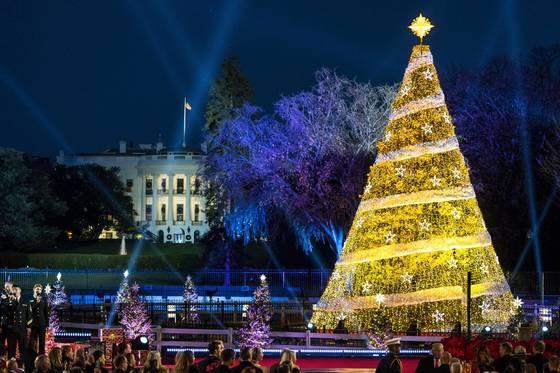 미국 워싱턴 백악관 인근에 세워진 크리스마스 트리. [EPA=연합뉴스]