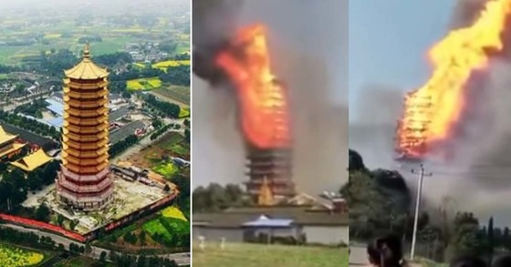 전소되기 전 영관루(맨 왼쪽)과 10일 화재로 불길이 치솟은 영관루. [신랑망, 유튜브 캡처]