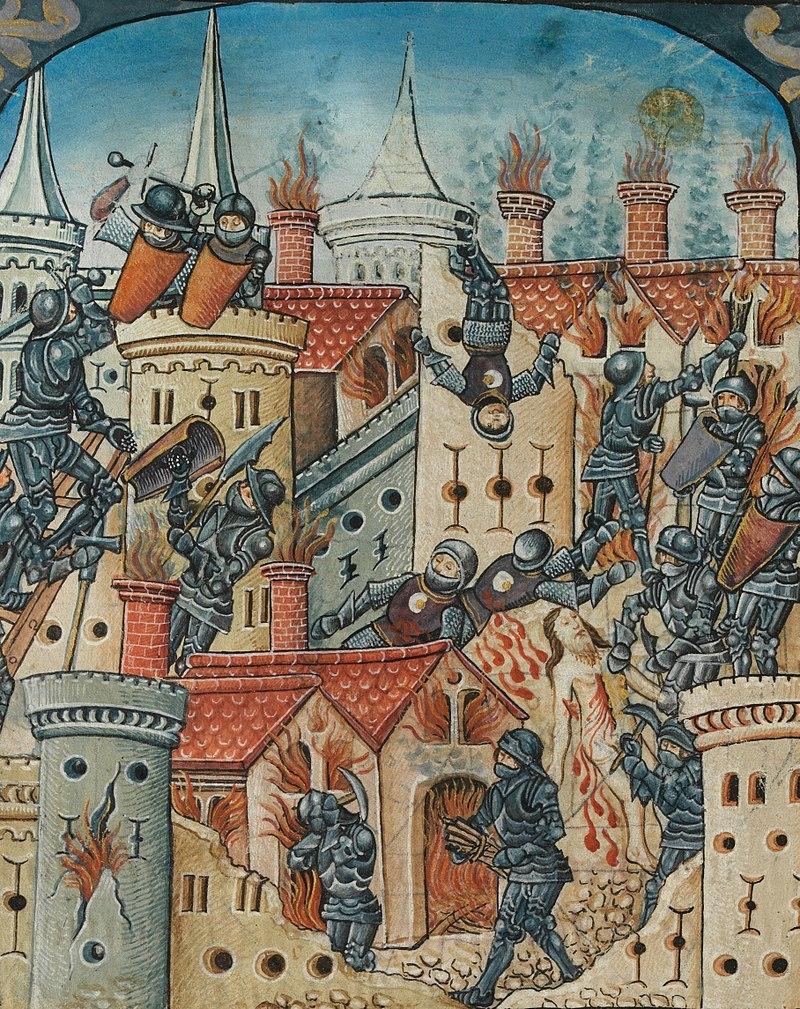 기원 70년 로마군이 유대인 반란을 진압하면서 예루살렘의 제2성전을 파괴한 역사를 그린 16세기 초 그림.