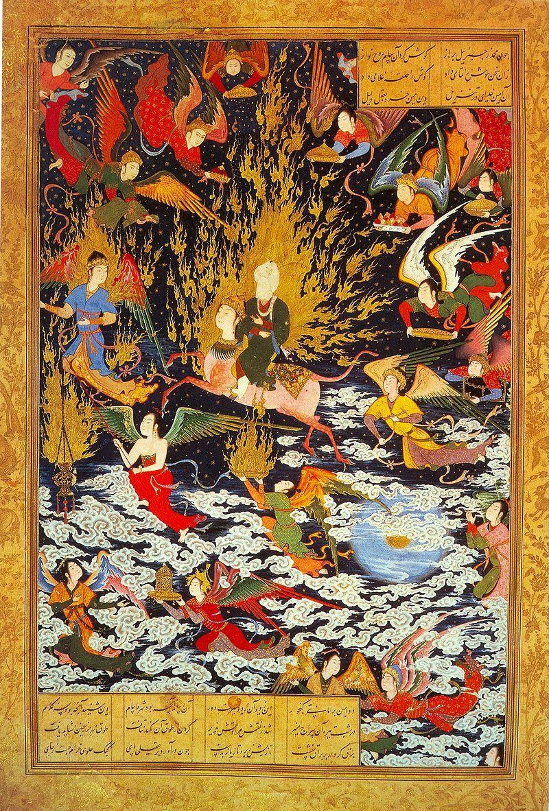 무함마드의 승천 여행을 기록한 16세기 페르시아의 세밀화.이슬람에선 사람을 그리는 것을 꺼리지만 페르시아에선 전통화에다 일한국을 세운 몽골인들이 들고온 중국의 회화 문화를 더해 고유의 세밀화(미니어처) 문화를 발전시켰다. 그림 속 일부 인물이 중국 회화에 나타나는 모습과 비슷한 이유다. [그림=위키피디아]