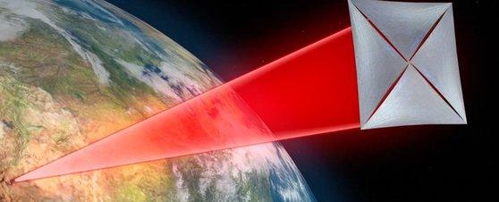 스타샷 프로젝트에서 구상중인 나노 우주선. 돛을 활짝 펼쳐 지표면에서 쏜 레이저를 동력삼아 우주로 나아간다. [sciencealert.com]