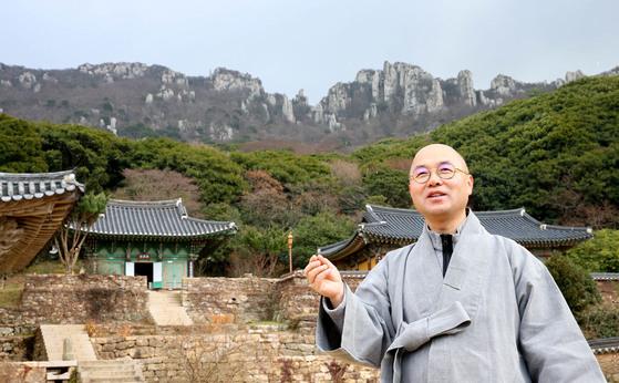 미황사 주지인 금강 스님이 달마고도를 기획한 배경과 길을 만든 과정들을 설명하고 있다. 프리랜서 장정필