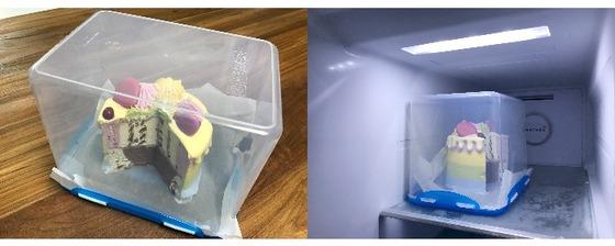 아이스크림 케이크도 거꾸로 뒤집은 밀폐용기에 넣었다(왼쪽). 마치 매장 진열장처럼 냉동실 안에 케이크가 예쁘게 들어갔다.