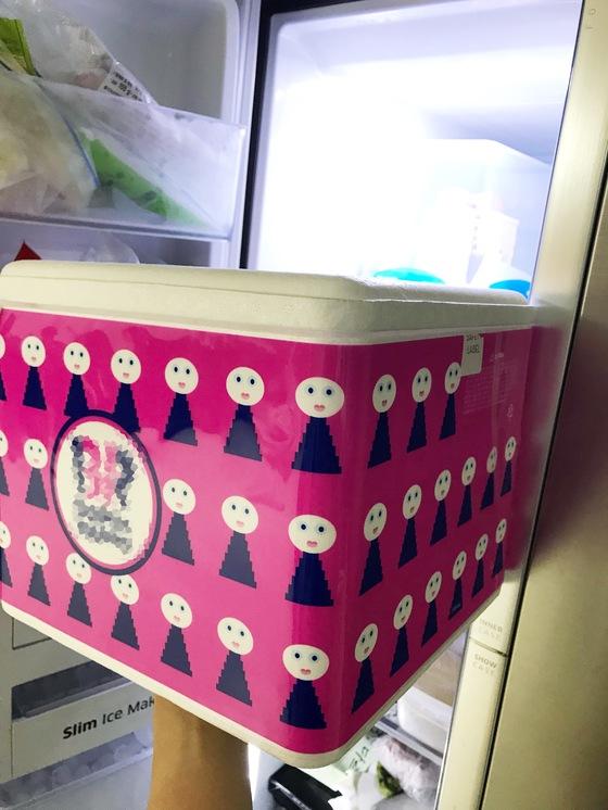 냉동실은 그래도 여유가 있어 괜찮다고 생각했는데, 막상 스티로폼 상자가 너무 커 냉동실 문에서부터 들어가지 않는다.