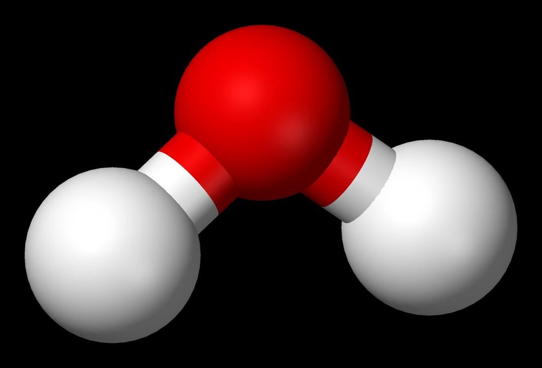 물의 분자 구조. 붉은색이 산소 원자이고, 흰색이 수소 원자이다. 이들 세 원자는 104.45도 각도를 이루고 있다.