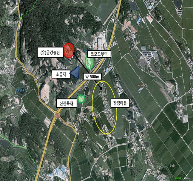 전북 익산 장점마을의 위치. 붉게 표시된 곳이 유기질 비료를 생산하는 업체의 위치다. [자료 환경부]