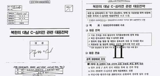 이철희 의원이 27일 공개한 '북한의 대남 C(사이버)-심리전 관련 대응전략' 문건. [연합뉴스]