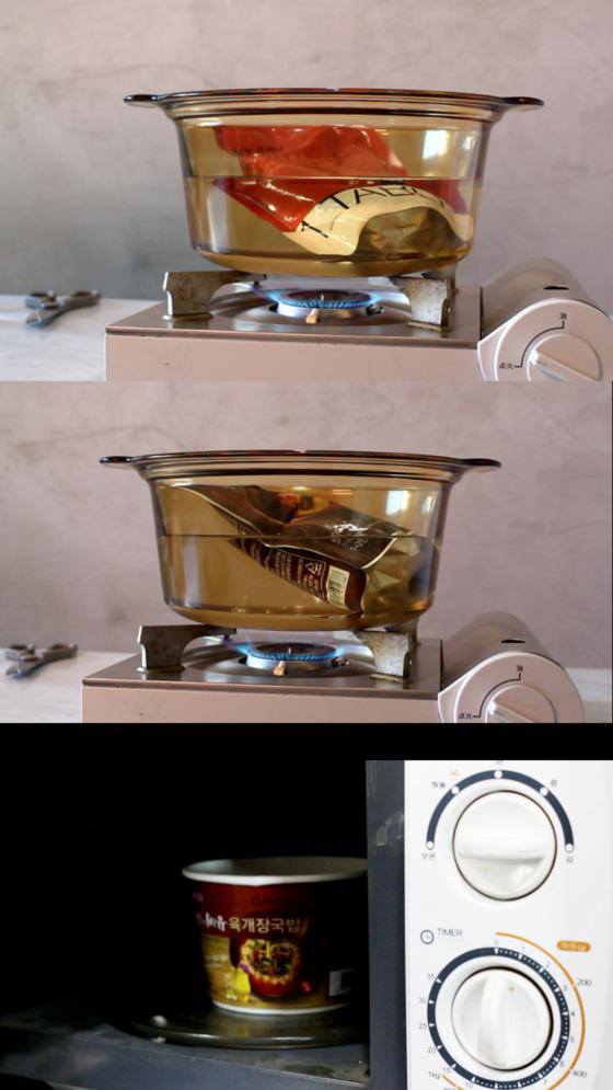 현대백화점(위)과 이마트(가운데)는 끓는 물에 봉지째 넣어 데운다.가장 아래 CU는 용기에 육개장과 물을 부은 후 전자레인지에서 조리한다.