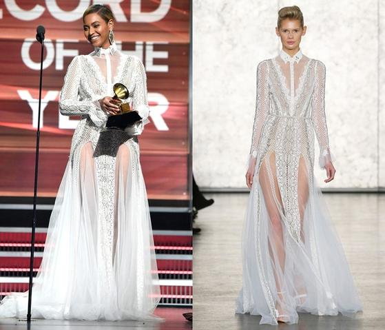인발 드롤 드레스는 2016년 비욘세가 한 시상식에서 유명해졌다. [중앙포토]