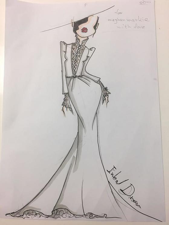 인발 드롤이 메건 마클을 위해 디자인 한 웨딩드레스 스케치. [중앙포토]