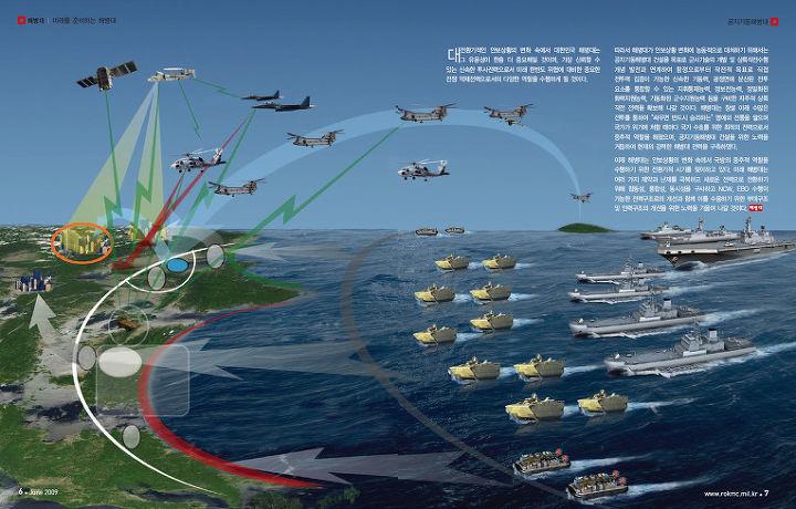 해병대가 그리고 있는 초수평선 상륙작전 개념도. [자료 해병대]