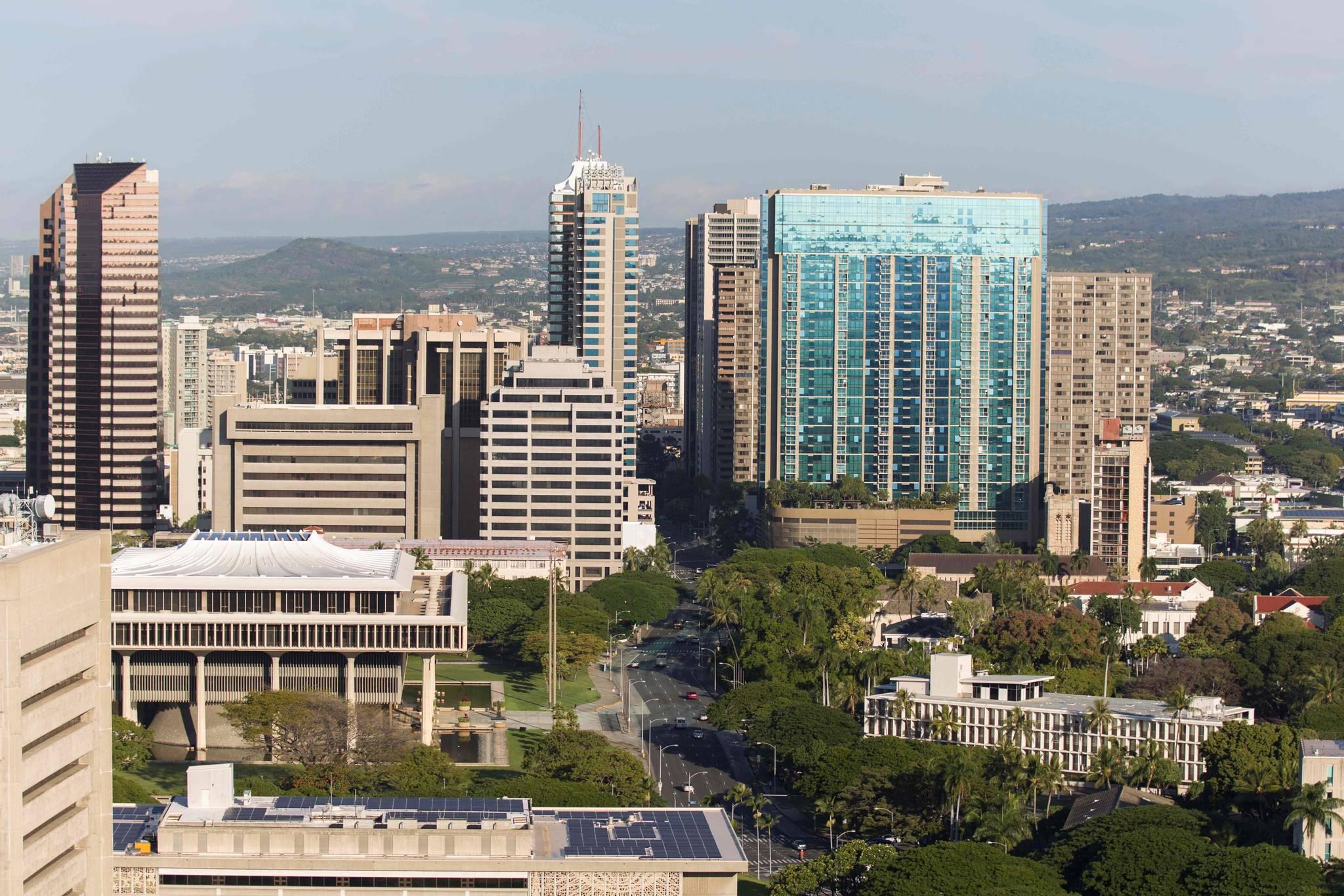 AFP가 13일(현지시간) 하와이호놀룰루 시내의 아침이라는 제목으로 전송한 사진. [AFP=연합뉴스]