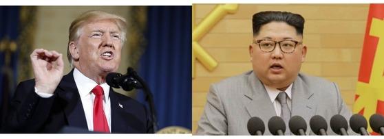 도널드 트럼프 미국 대통령(왼쪽)과 북한 김정은 위원장