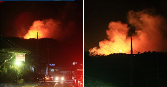 14일 오후 7시 53분께 강원 양양군 양양읍 화일리에서 산불이 발생해 소방당국이 진화 중이다. [연합뉴스]