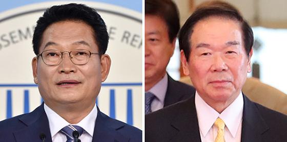 송영길(左), 누카가(右). [연합뉴스]