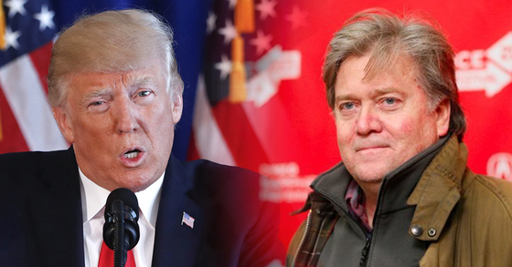 도널드 트럼프 미국 대통령(왼쪽)과 그가 경질한 스티브 배넌 전 백악관 수석전략가. [AP=연합뉴스]