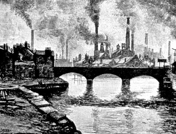 영국 산업혁명 당시 공장 굴뚝에서 연기가 나오는 모습을 그린 그림. [중앙포토]