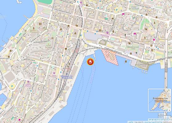 화재가 일어난 블라디보스토크 러시아 해군기지 율리시스만 잠수함 부두. [캡처 russia.liveuamap.com]