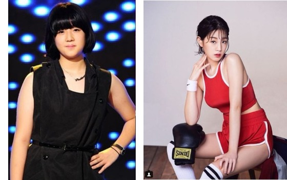 32kg을 감량한 가수 박보람. 왼쪽 사진은 슈퍼스타K에 나올 때 모습, 왼쪽은 다이어트 성공 후의 모습이다. [사진 CJ E&M, 박보람 인스타그램]