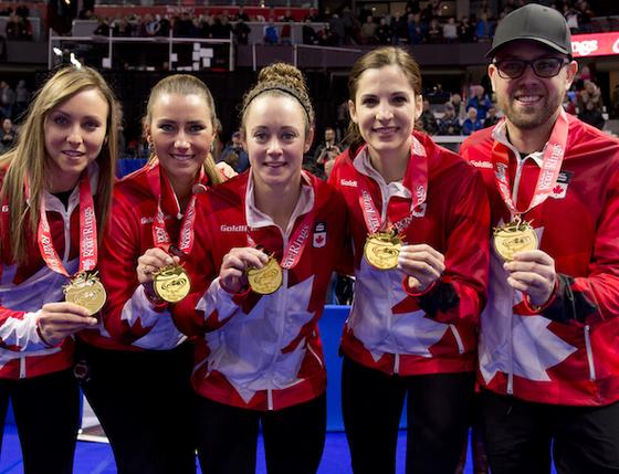 세계여자컬링 최강 캐나다의 팀 호먼. 왼쪽이 스킵 레이첼 호먼. [사진 캐나다컬링협회]
