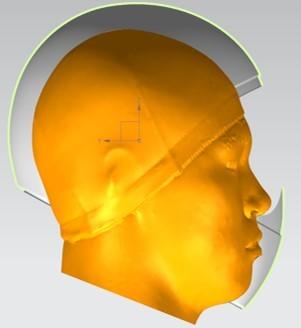 3D 스캔으로 뜬 두상 그래픽에 헬멧을 입힌 모습. [사진 홍진HJC]