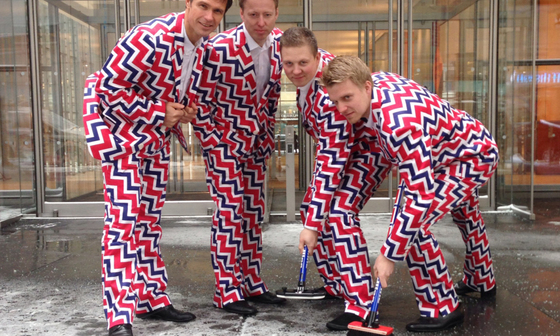 2014년 소치 올림픽 때 입은 노르웨이 남자 컬링팀의 공식 선수단복. [AP]