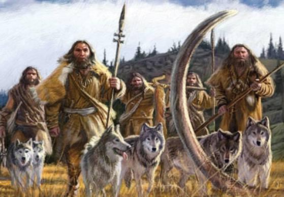 인류 조상이 개를 데리고 매머드 사냥에 나선 모습을 그린 상상도.