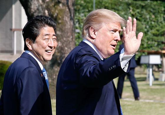 아베 신조 일본 총리와 도널드 트럼프 미국 대통령 [연합뉴스]