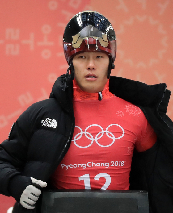 13일 강원도 평창군 슬라이딩센터에서 열린 남자 스켈레톤 연습경기에서 대한민국 윤성빈이 출발 준비를 하고 있다. [평창=연합뉴스]