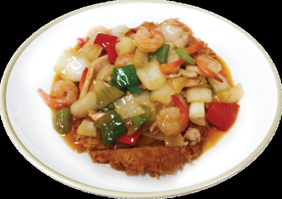 수제 돈까스 위에 중국식 해물볶음을 얹어주는 해물볶음돈까스. [사진 한국도로공사]