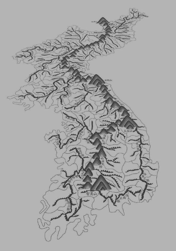 백두대간과 정맥을 나타낸 지도