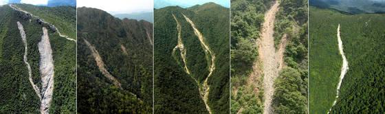 기후변화로 백두대간과 국립공원 등 보호구역의 산사태 피해가 꾸준히 발생하는 것으로 나타났다. 녹색연합은 '2017 기후변화 산사태 현장실태 보고서'를 통해 2000년 이후 지리산 천왕봉을 중심으로 동부권역에 36번의 산사태가 발생했다고 20일 밝혔다. 보고서는 1990년대 이전까지만 해도 하천 마을과 농경지를 중심으로 수해가 나타났으나, 이후 기상이변에 의한 집중호우가 빈번히 발생해 수해의 양상이 산사태로 바뀌었다고 설명했다. 사진 왼쪽부터 설악산, 지리산, 방태산, 왕피천, 점봉산의 산사태 흔적. [녹색연합 제공=연합뉴스]