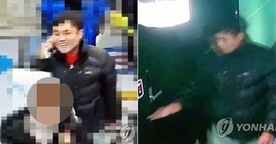 지난 10일 오후 도주 중 김포공항에 도착한 모습과 (왼쪽) 경기 모 호텔 투숙한 한정민(오른쪽) [연합뉴스]