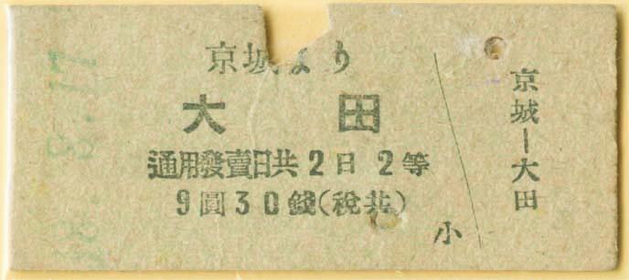 1943년 사용된 경성~대전을 오가는 기차의 3등실 보통승차권. [사진 코레일]