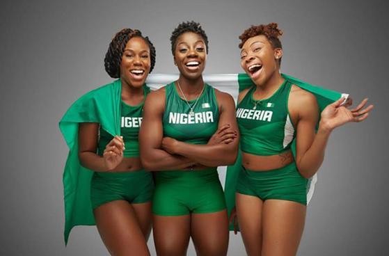 나이지리아 여자 봅슬레이팀 왼쪽부터 세운 아디군, 은고지 오누메레 그리고 아쿠오마 오메오가. [사진 나이지리아 봅슬레이스켈레톤연맹 SNS]