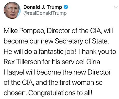 도널드 트럼프 미 대통령은 다음날 트위터에서 틸러슨 미 국무 장관의 경질 소식을 알렸다. [AP=연합뉴스]