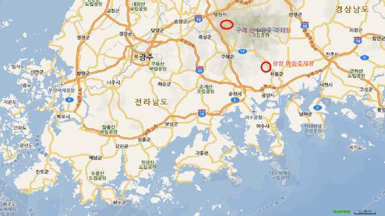 전남 구례 산수유꽃축제장과 전남 광양 매화축제장 위치도. 네이버 지도 캡쳐