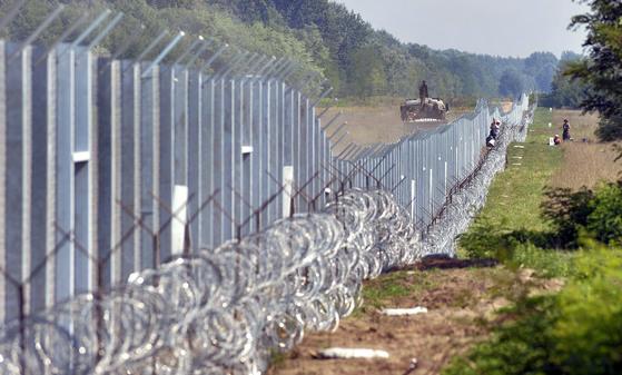 헝가리 남부 세르비아 국경에 세워진 178km 길이의 국경장벽. 오르반 빅토르 헝가리 총리는 2015년 8월 이후 난민 유입을 차단하기 위해 3중 장벽을 설치하고 전기가 흐르도록 하는 등 강경책을 취한 바 있다. [AP=연합뉴스]