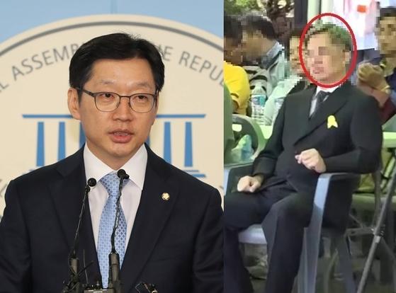 김경수 더불어민주당 의원과 '민주당원 댓글 사건'의 주범 김모(드루킹)씨. [중앙포토]