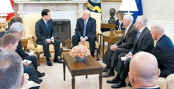 도널드 트럼프 미국 대통령이 3월 8일 백악관 집무실에서 정의용 청와대 국가안보실장 등 한국 대표단을 만나 북한 김정은 위원장의 메시지에 대한 설명을 듣고 있다. [사진제공=주미한국대사관]