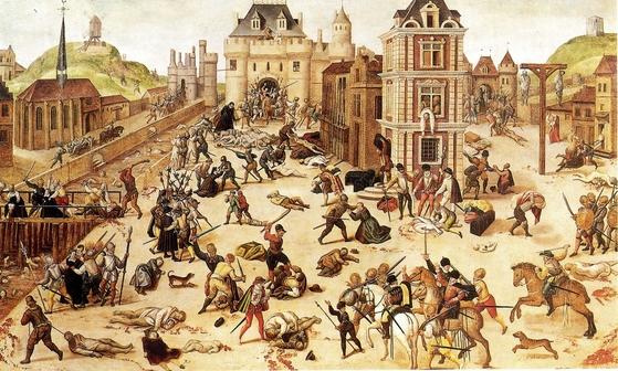 1572년 성바르톨로메오 축일에 프랑스 가톨릭 교도들이 신교도인 위그노를 학살하는 장면을 담은 그림. 광신이 가져온 역사의 비극이다. 바티칸은 1997년 책임을 인정하고 상호 용서를 구했다. [중앙포토]