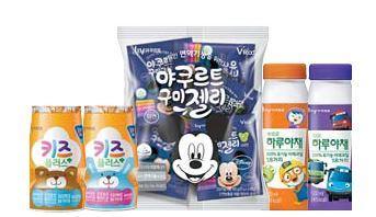 어린이 전용 제품 패키지는 인기 캐릭터로 귀엽게 장식했다. [사진 한국야쿠르트]