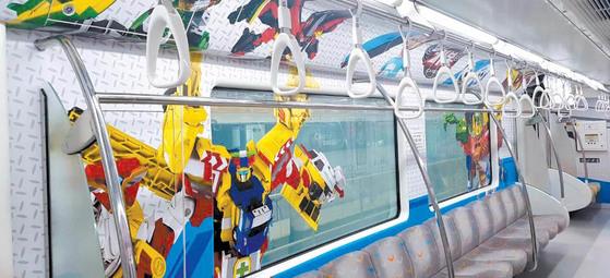 모노레일인 대구지하철 3호선의 캐릭터 열차 내부 모습. [사진 대구도시철도공사]